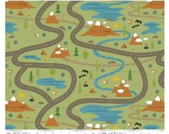 J is for Jeep Road Print Panel by Riley Blake - 1 yard panel