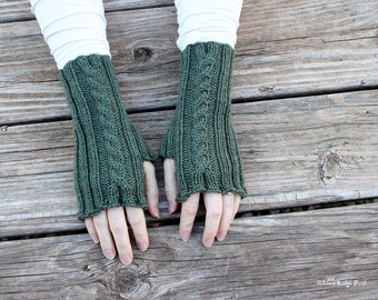 Hand knit fingerless gloves, rib and cable design, knitted cable arm warmers, green knit fingerless mitts, 100% superwash wool