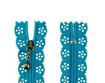 1 zipper flowers 25cm turquoise