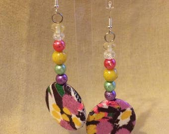 Colorful summer earrings fabric fantasy