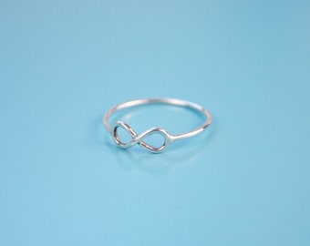 Silver ring with infinity symbol