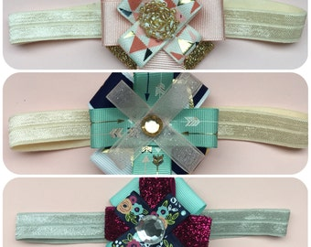 Baby Headband Set of 3, Small Hair Bows, Headband Set, Baby Girl