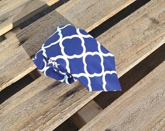 Blue and White Clover Tie, Fretwork Pattern, Geometric Necktie, Blue Necktie