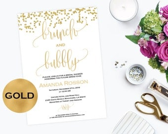 Brunch and Bubbly Invitation Bridal Shower Gold Glitter Confetti -  Printable Brunch Party Invitation Gold Glitter - Downloadable #WDH0089