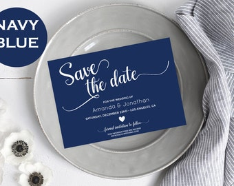 Save the date template - Navy Blue Wedding template - Save the date printable - Navy Simple Wedding Digital Printable  #WDH0270