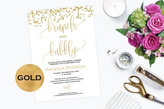 Brunch and Bubbly Invitation Bridal Shower Gold Glitter Confetti -  Printable Brunch Party Invitation Gold Glitter - Downloadable #WDH0089