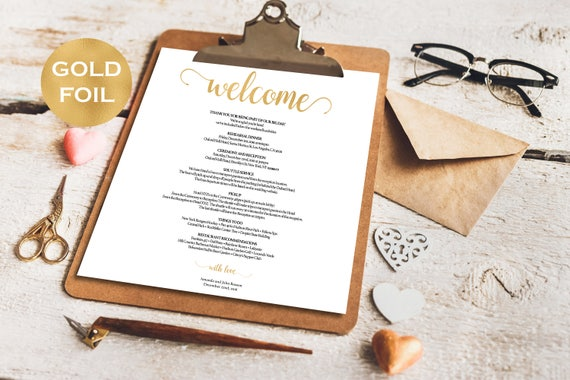 Wedding welcome bag note template