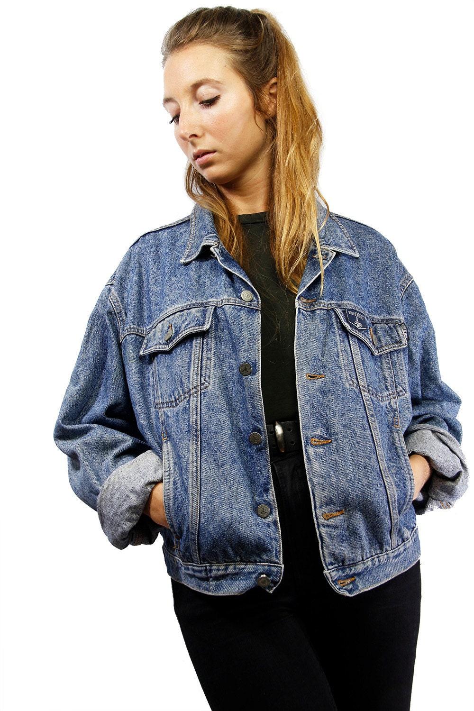 Vintage Denim Jacket / Oversized Jean Jacket / Jean Jacket Women ...