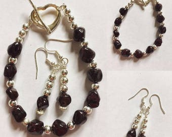Garnet Bracelet & Earrings Set