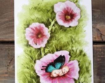 Baby shower gift - Faeries - Nursery print - Baby room art - Flower newborn - Nature painting