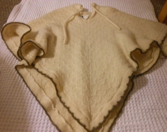 VINTAGE 100% wool SWEATER PONCHO