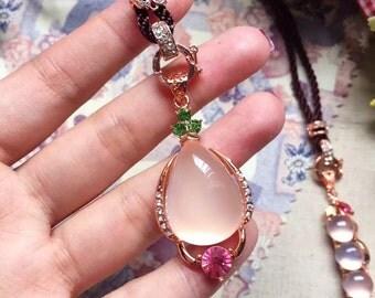 Natural Pink Hibiscus Quartz Pendant /  天然芙蓉晶吊坠