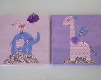 Set of 2 Nursery Canvases, Giraffe Canvas Art, Elephant Baby Decor, Floral Baby Art, Mixed Media Art, Christening Gift, Baby Shower Gift