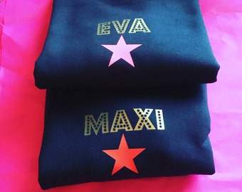 Kids personalised sweatshirt with neon star