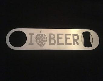 I Love Beer Custom Bottle Opener
