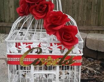 Large Red Wedding Card Box / Wedding Card Holder / Birdcage Card Holder / Wedding/ Card Box/Bird Cage/ Reception