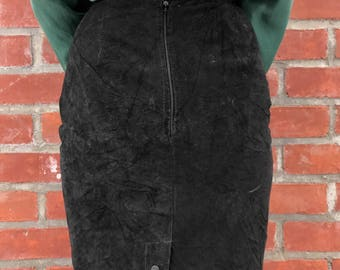 Black Suede Tango pencil skirt, size xs/s