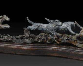 English Setter Puppies Running  Bronze Figurine by Leslie Hutto