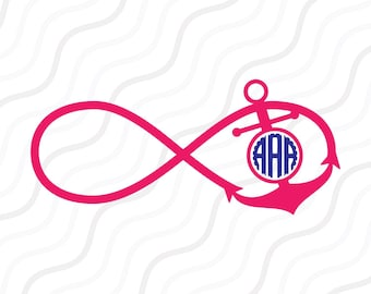 Infinity Anchor Monogram SVG, Anchor SVG, Infinity SVG Cut table Design,svg,dxf,png Use With Silhouette Studio & Cricut_Instant Download