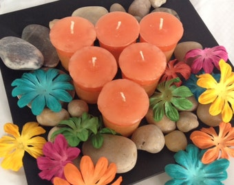 Orange Votive Candles - set of 6
