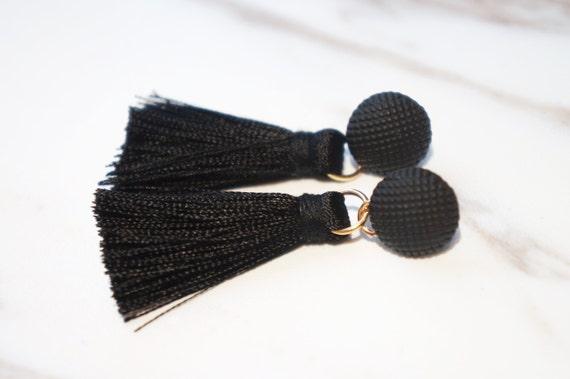 Stylish Black Tassel Earings