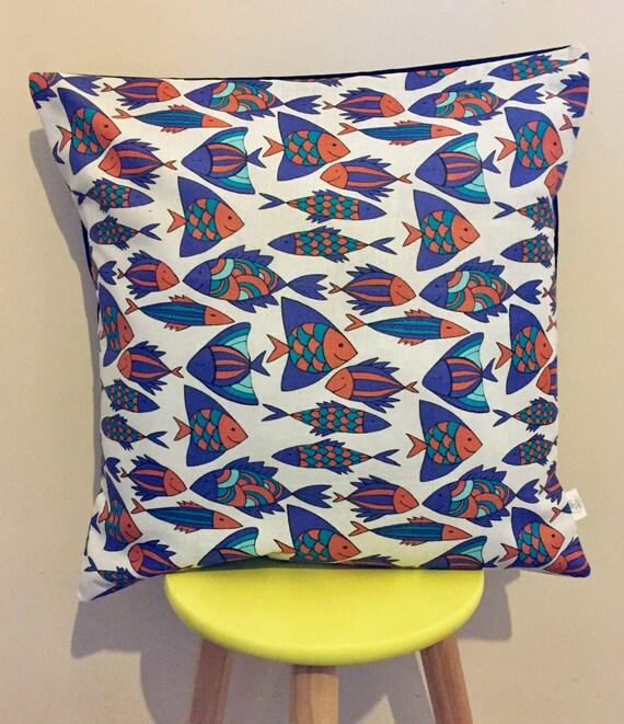 Multiple fish cushion cover, blue orange purple