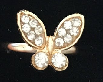 Adjustable Butterfly Ring Gold Clear Crystals