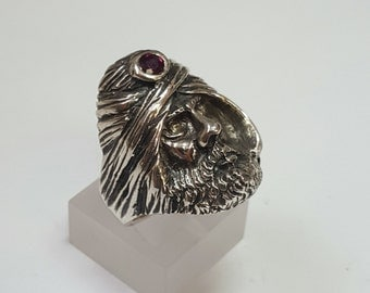 Sterling Silver Arab head with Ruby