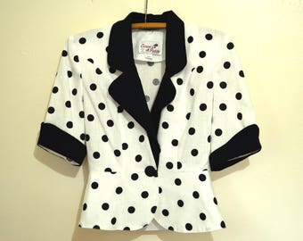 Vintage 1980s Power Suit, Black and White Polka Dot Womens Business Suit, Caron Petite Chicago, Blazer and Skirt, Short Sleeves, Size 4 307