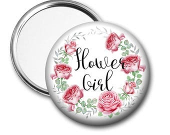 Blooms Flower Girl 58 mm 2.5 inch Pocket Mirror