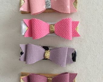 Fabric Bow Clip, Pink Bow Clip, Purple Bow Clip