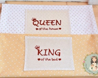 Set of two pillowcases, King and Queen | valentine's gift | hand embroidered | wedding gift, newlywedds, bride&groom, engagement gift