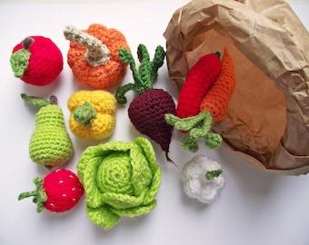 Crochet play food set (10 pcs) Crochet vegetables and fruit ,Birthday Present, Eco-friendly toys,Pretend play ,Teething toy