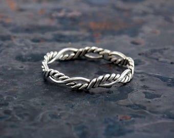 Sterling Silver Double Twist Flat Ring by Navillus Metal Works: