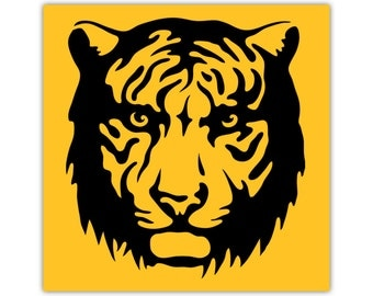 Tiger Print, Animal Art, Illustration, Yellow Wall Decor, Kids Art, Canvas, Large Poster