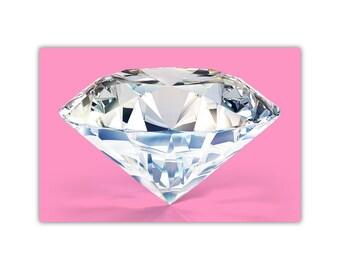 Diamond Print, Pink Decor, Large Canvas Art, Poster, Modern, Girls Room