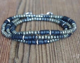 3 laps and collar man bracelet in black coconut, hematite, and pyrite 4mm INZ - I - model ED