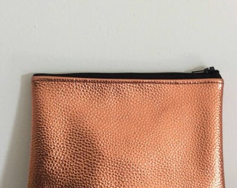 Metallic 'toffee' faux leather clutch bag