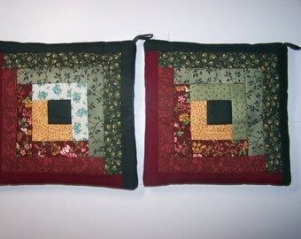Quilt Block Hot Pad / Trivet / Pot Holders, Set of 2  (lot #2 A&B)