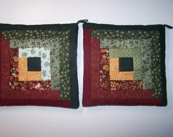 Quilt Block Hot Pad / Trivet / Pot Holders, Set of 2  (lot #2 A&B)