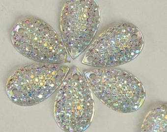 10.5x18mm 100pcs Clear AB Acrylic Resin Teardrop Sew-on Stones Flatback Sew on Rhinestones Sewing Crystals for DIY