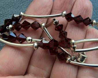 Vintage 925 Sterling Silver Garnet Beads Magnet Clasp Necklace