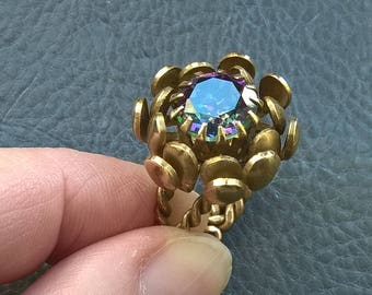 Antique WEST GERMANY Natural Mystic Topaz Flower Brass Oversized Ring