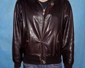 CHEVIGNON vintage brown leather jacket size L