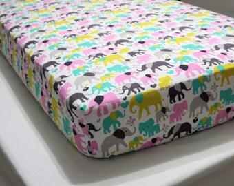 Baby Bedding girl Crib Sheet elephant Baby bedding Girl crib sheet pink nursery aqua bedding gray nursery
