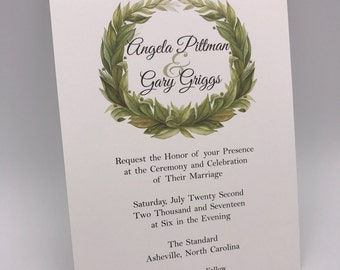 Printed, Wedding Invitations, Laurel Wreath, 5x7, Commercial Press, Premium Quality and Still Affordable!