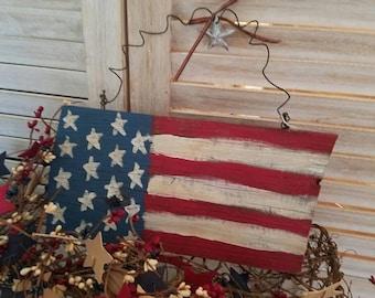 Primitive horizontal American Flag