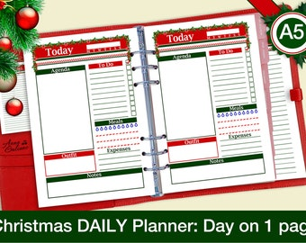 A5 Christmas Planner Inserts, A5 Daily Planner Inserts, Day on 1 page, DO1P, Printable Christmas Planner, Filofax Inserts, Kikki Inserts