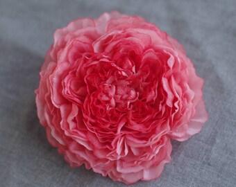 Pure silk flower brooch,hair clip, hand dyed silk flower corsage, Handmade gift,flower jewelry,blossom, pin, hair accessory,