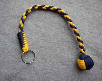 Hand Braided U of M Color Monkey Fist Keychain on sale 13.99